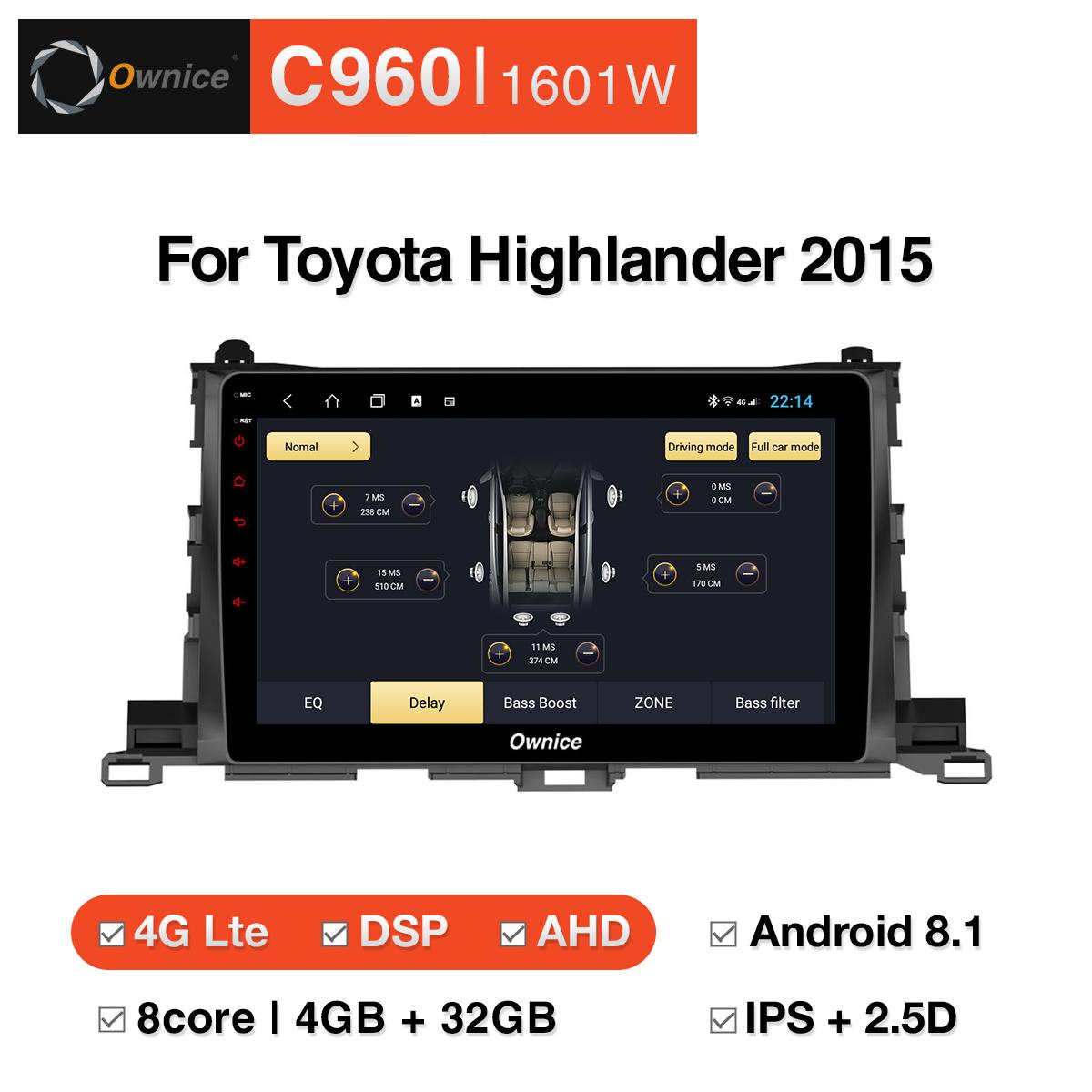 Đầu DVD android Ownice C960 cho xe ô tô Toyota Highlander 2015