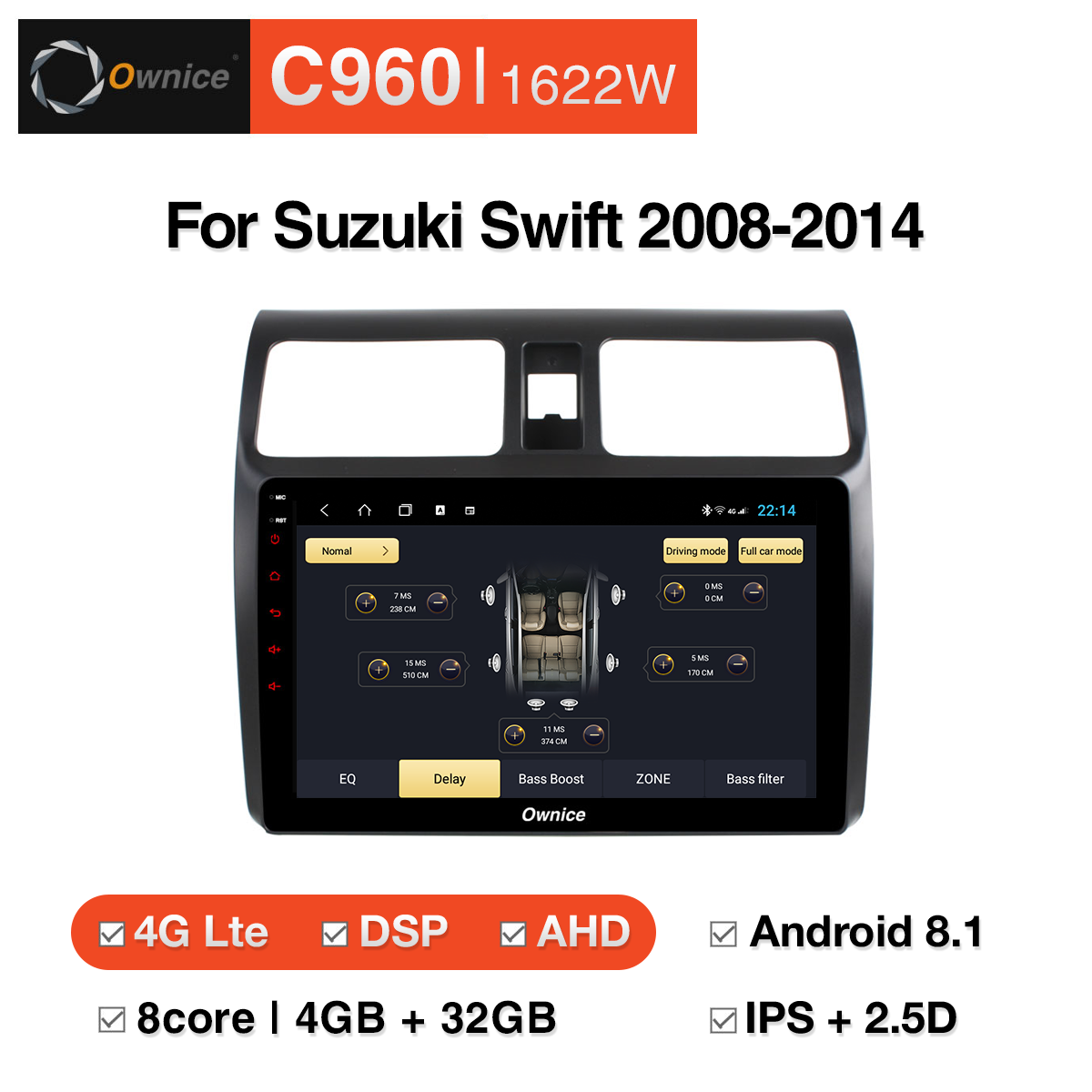 Đầu DVD android Ownice C960 cho xe ô tô Suzuki Swift 2008-2014:: OL-1622W
