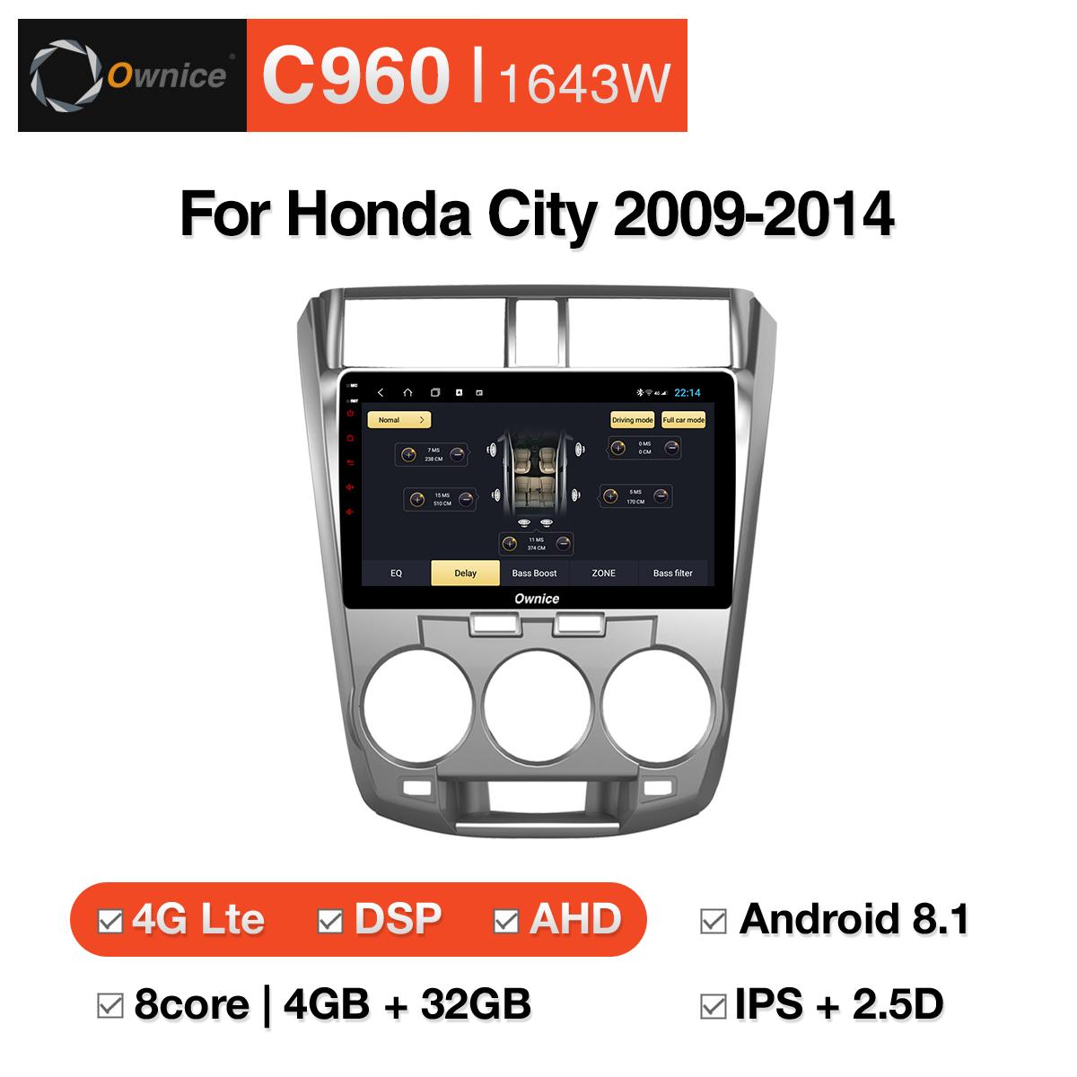 Đầu DVD android Ownice C960 cho xe ô tô Honda City 2009-2014:: OL-1643W