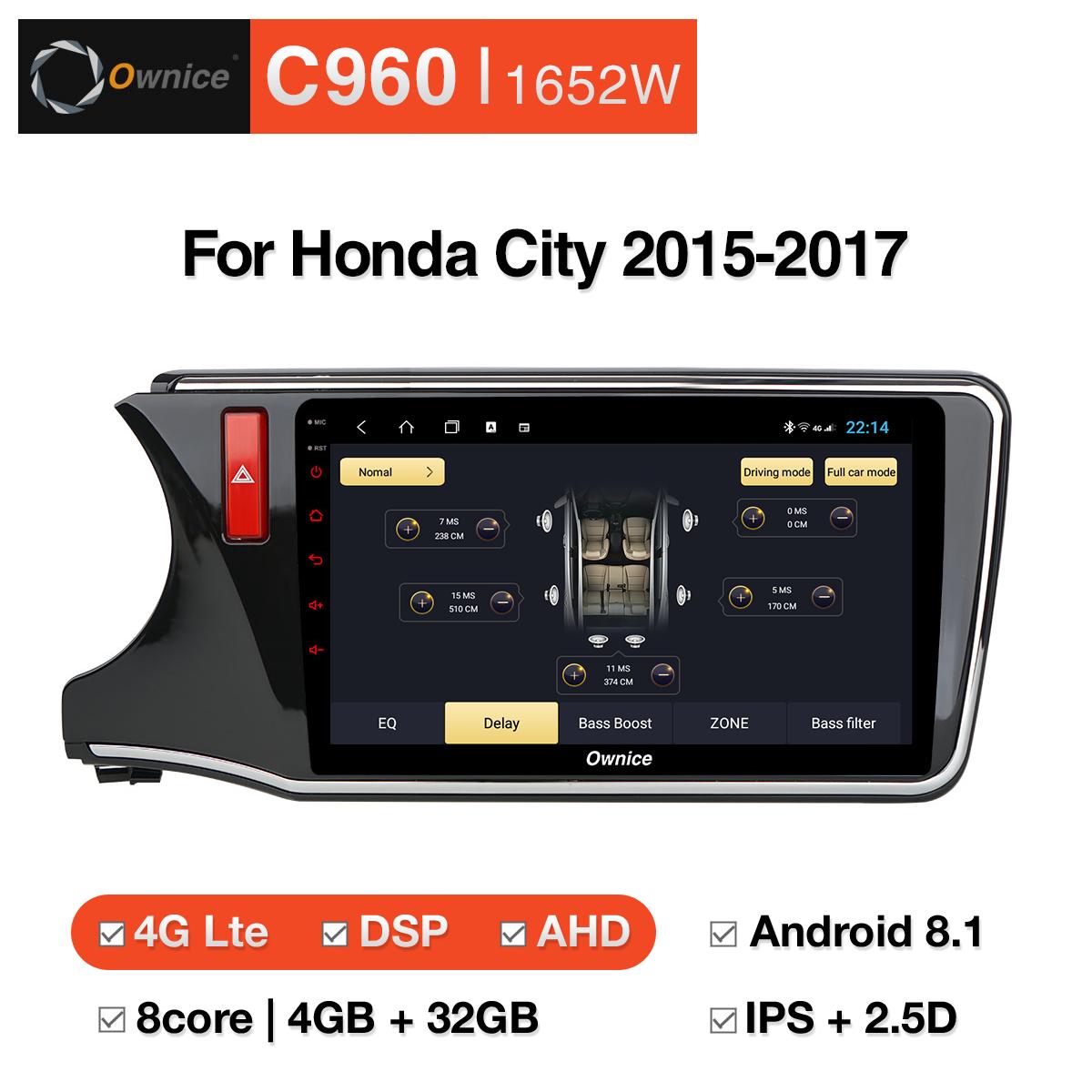Đầu DVD android Ownice C960 cho xe ô tô Honda City 2015-2017