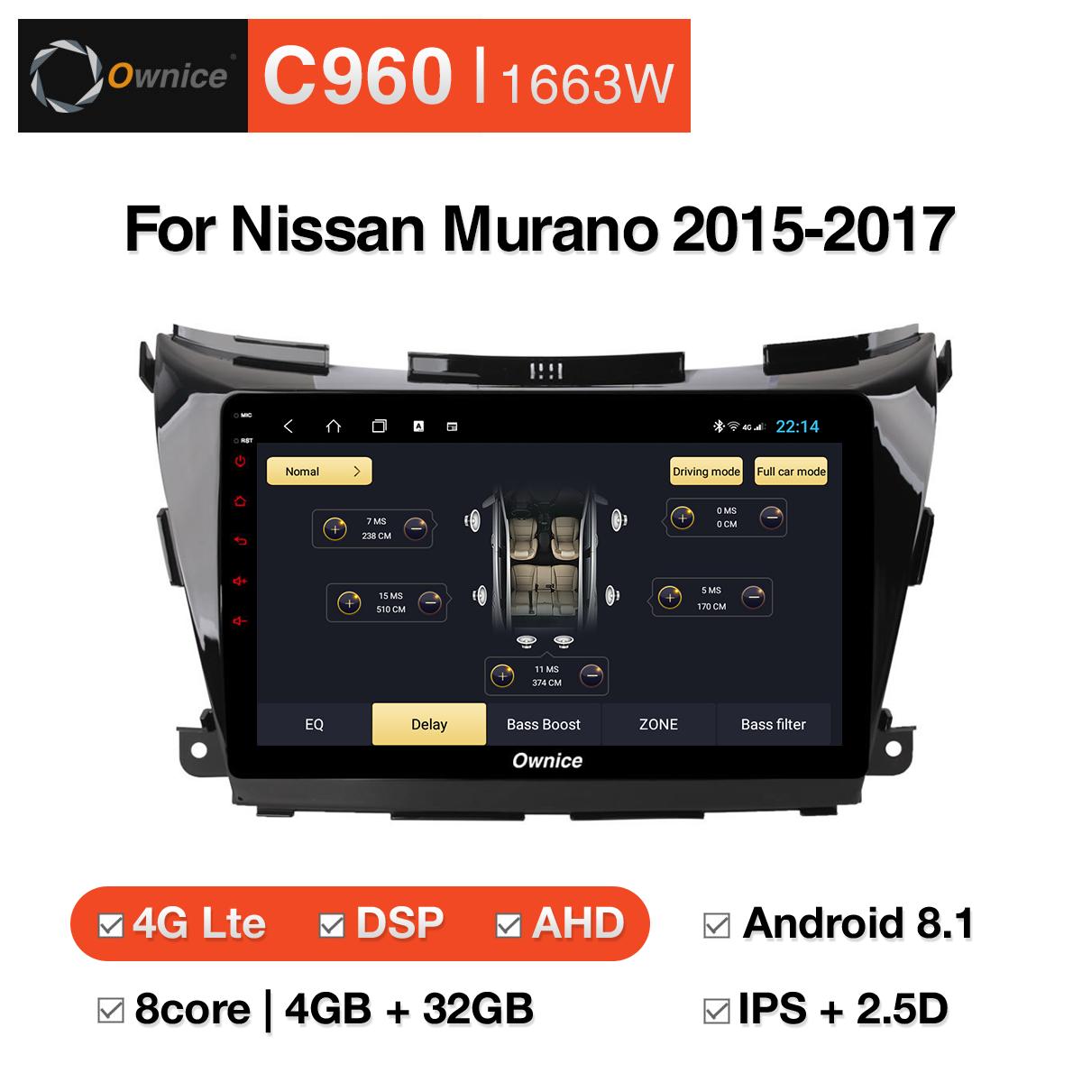 Đầu DVD android Ownice C960 cho xe ô tô Nissan Murano 2015-2017:: OL-1663W