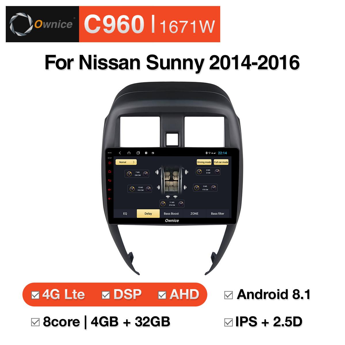 Đầu DVD android Ownice C960 cho xe ô tô Nissan Sunny 2014-2016:: OL-1671W