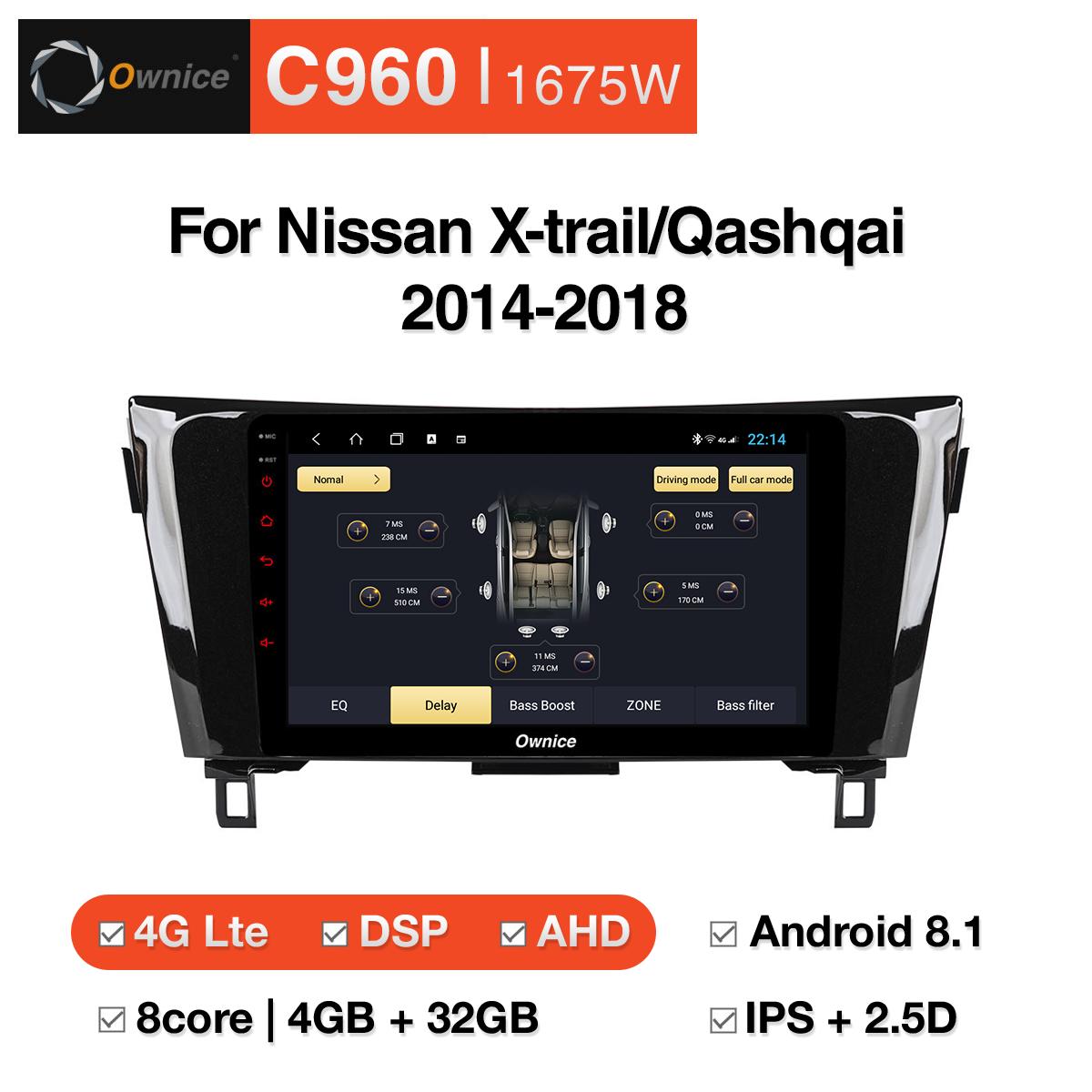 Đầu DVD android Ownice C960 cho xe ô tô Nissan X-trail/Qashqai 2014-2018:: OL-1675W