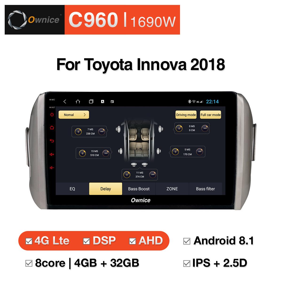 Đầu DVD android Ownice C960 cho xe ô tô Toyota Innova 2018:: OL-1690W