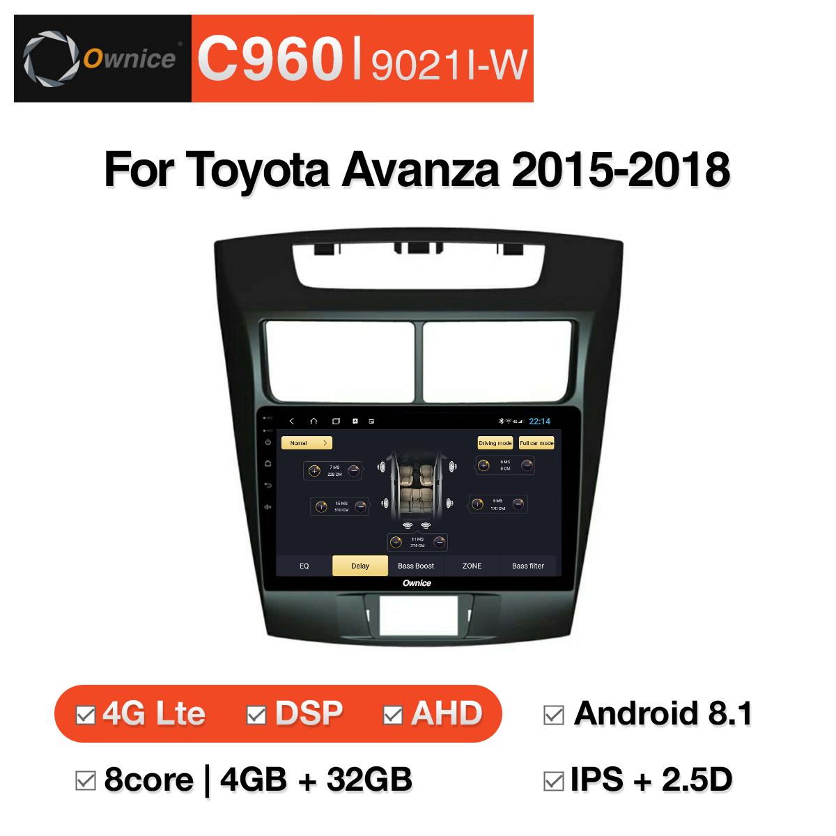 Đầu DVD android Ownice C960 cho xe ô tô Toyota Avanza 2015-2018