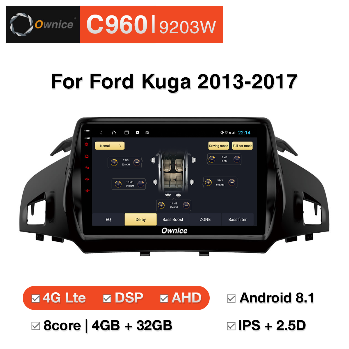 Đầu DVD android Ownice C960 cho xe ô tô Ford Kuga 2013-2017:: OL-9203W