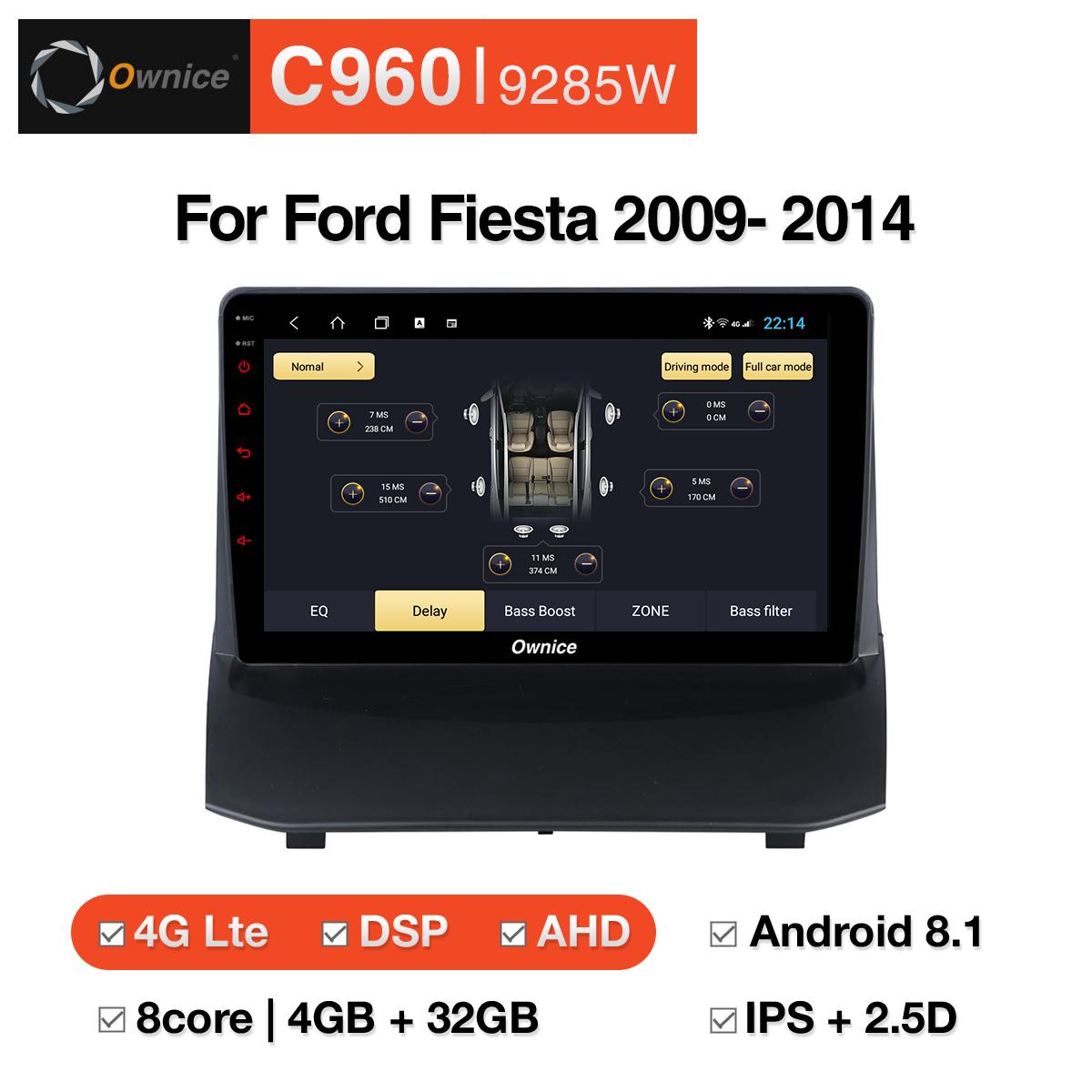 Đầu DVD android Ownice C960 cho xe ô tô Ford Fiesta 2009-2014:: OL-9285W