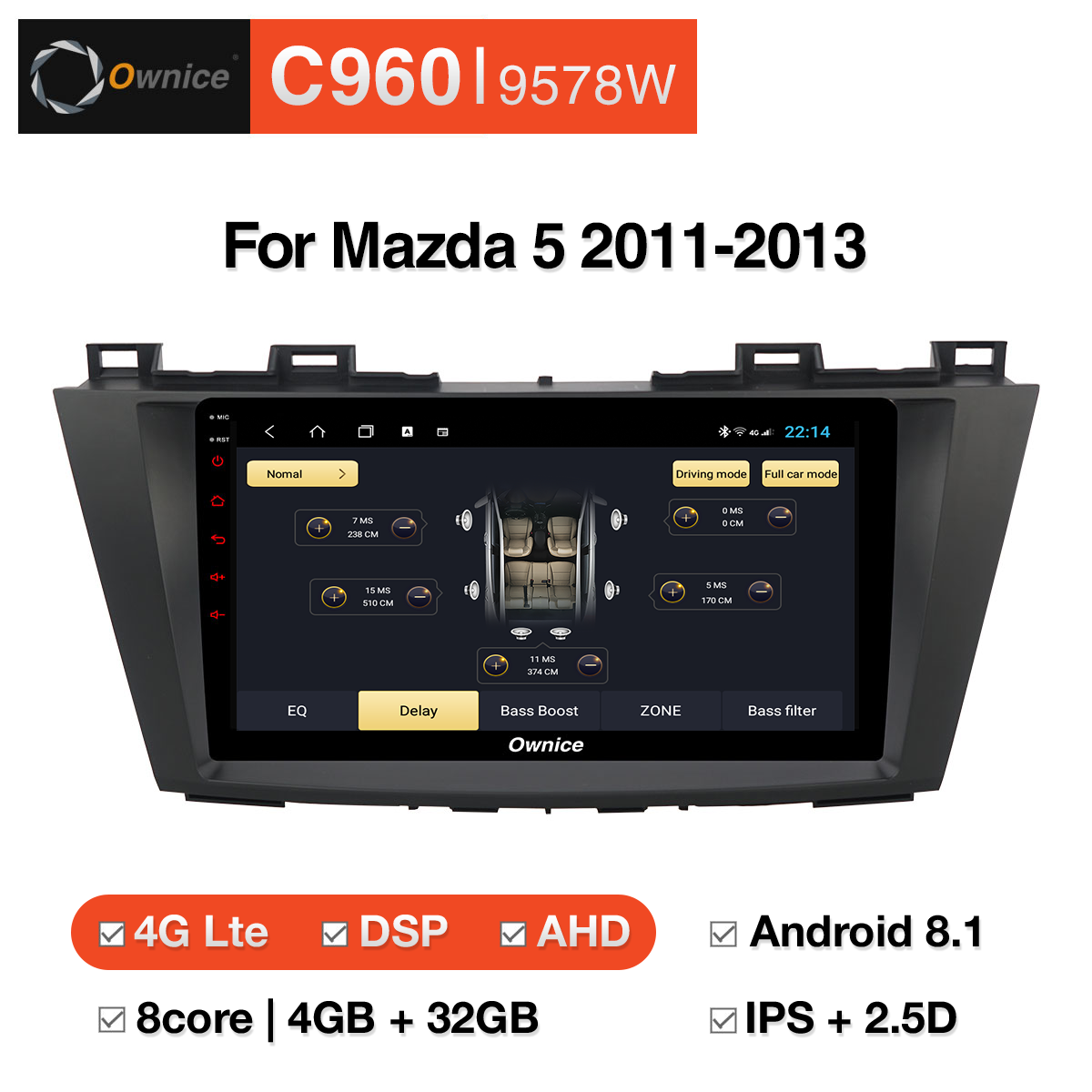 Đầu DVD android Ownice C960 cho xe ô tô Mazda 5 2011-2013