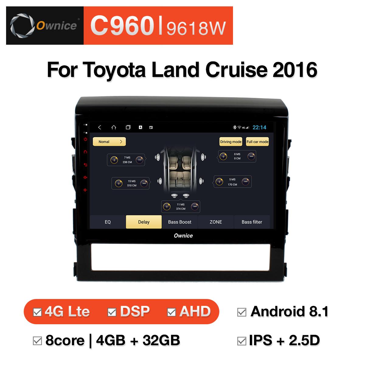 Đầu DVD android Ownice C960 cho xe ô tô Toyota Land Cruise 2016:: OL-9618W