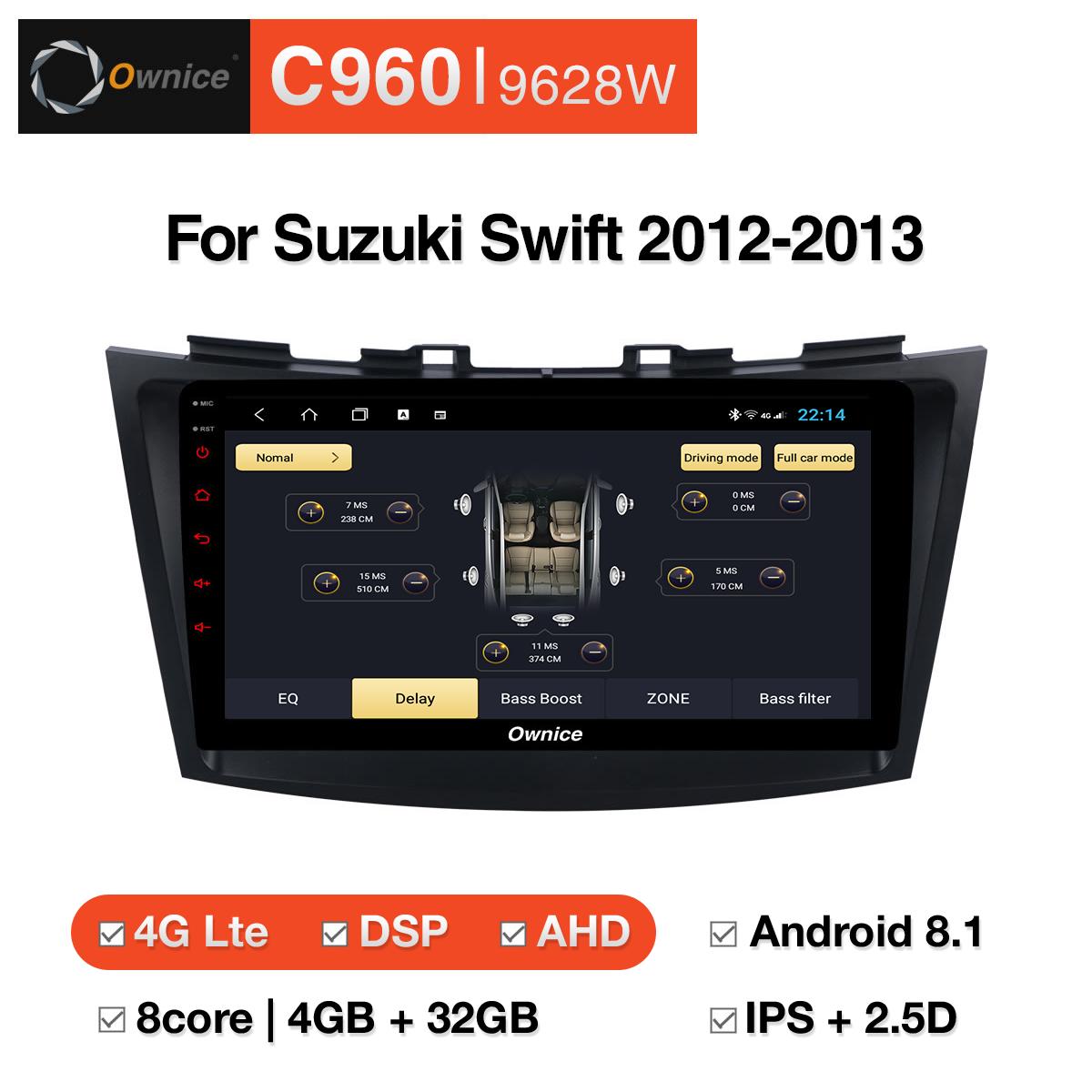 Đầu DVD android Ownice C960 cho xe ô tô Suzuki Swift 2012-2013:: OL-9628W