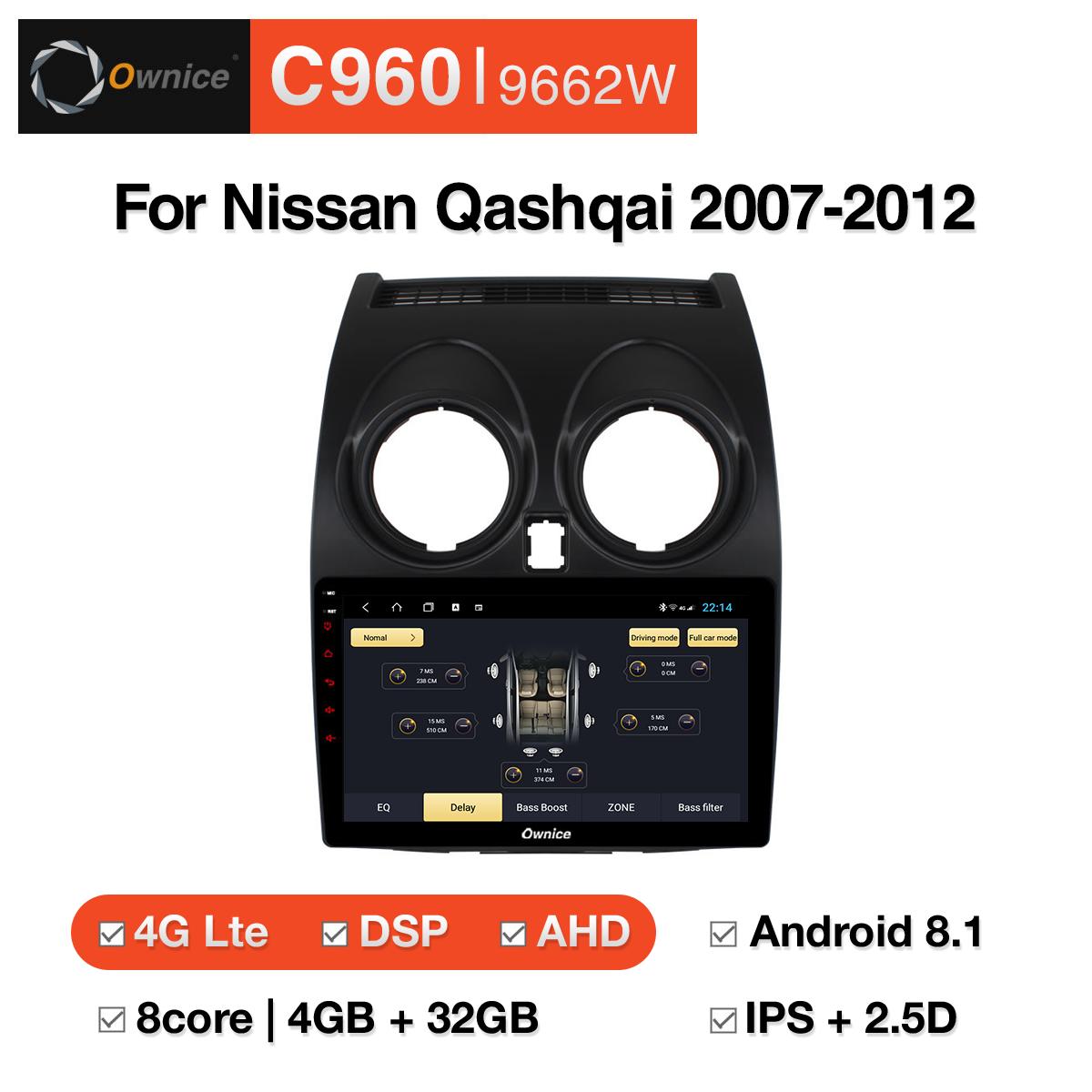 Đầu DVD android Ownice C960 cho xe ô tô Nissan Qashqai 2007-2012:: OL-9662W