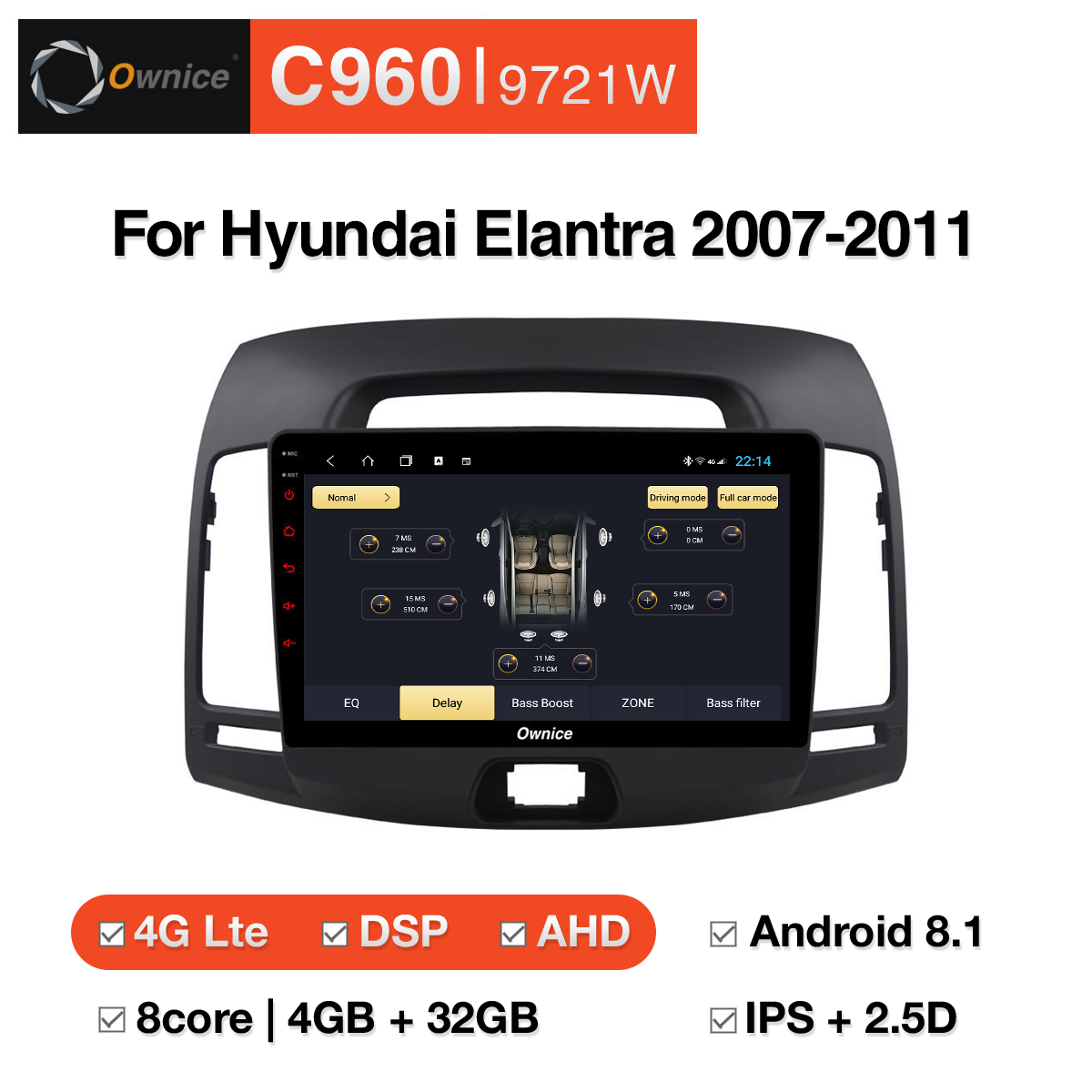 Đầu DVD android Ownice C960 cho xe ô tô Hyundai Elantra 2007-2011:: OL-9721W