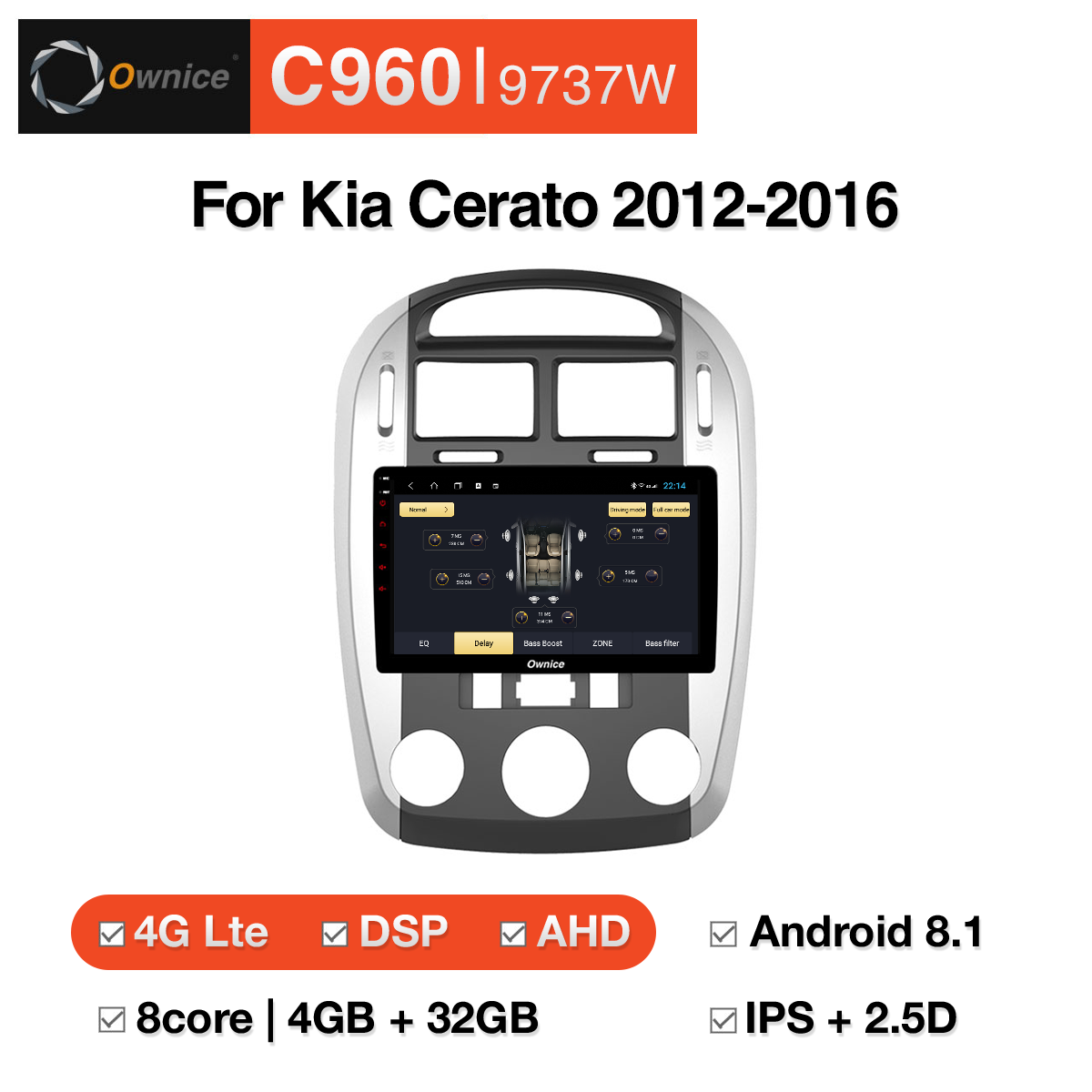 Đầu DVD android Ownice C960 cho xe ô tô Kia Cerato 2012-2016:: OL-9737W