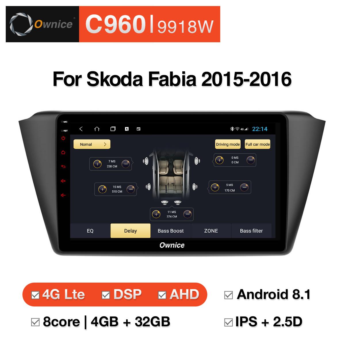 Đầu DVD android Ownice C960 cho xe ô tô Skoda Fabia 2015-2016