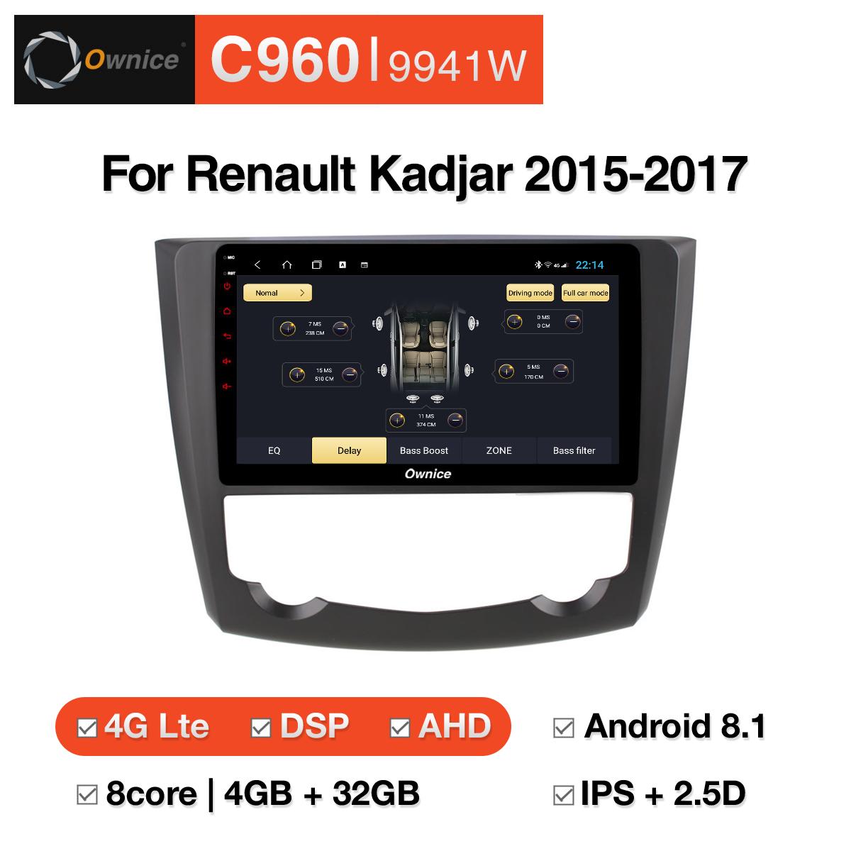 Đầu DVD android Ownice C960 cho xe ô tô Renault Kadjar 2015-2017:: OL-9941W