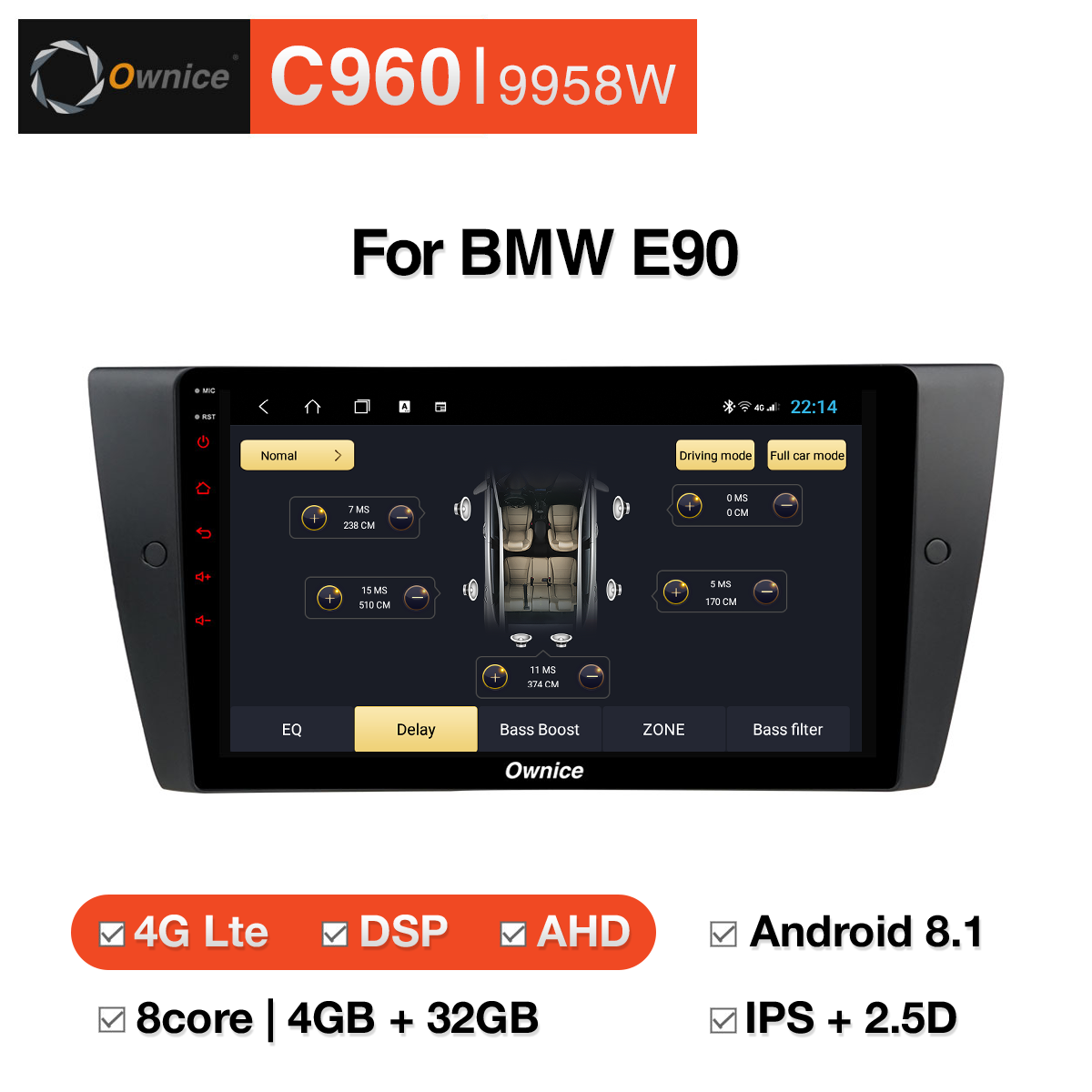 Đầu DVD android Ownice C960 cho xe ô tô BMW E90:: OL - 9958W