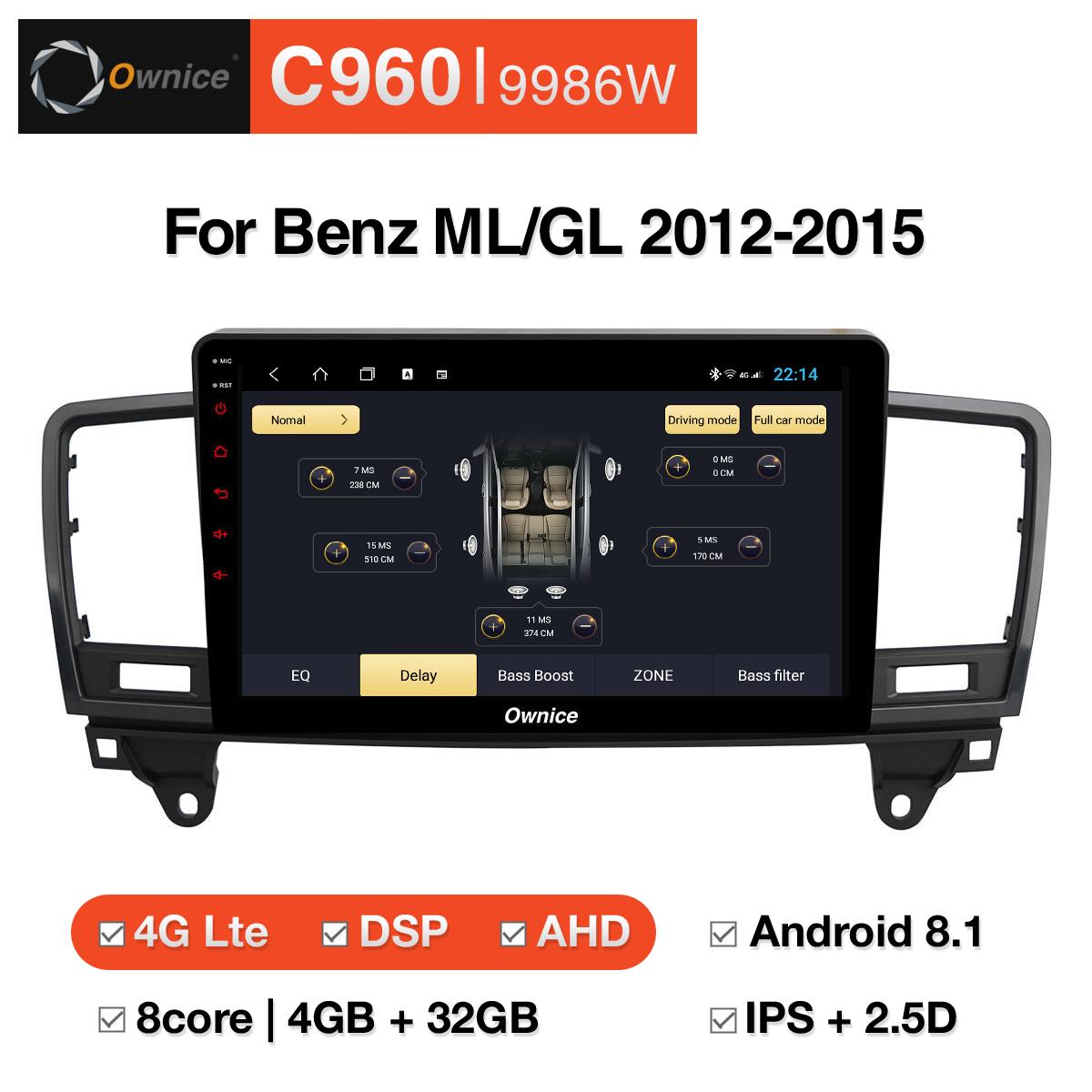 Đầu DVD android Ownice C960 cho xe ô tô Benz ML/GL 2012 - 2015:: OL - 9986W
