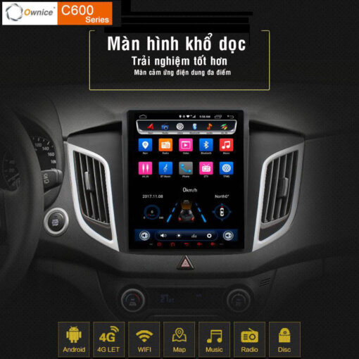 DVD Ownice C600 màn hình dọc kiểu Tesla