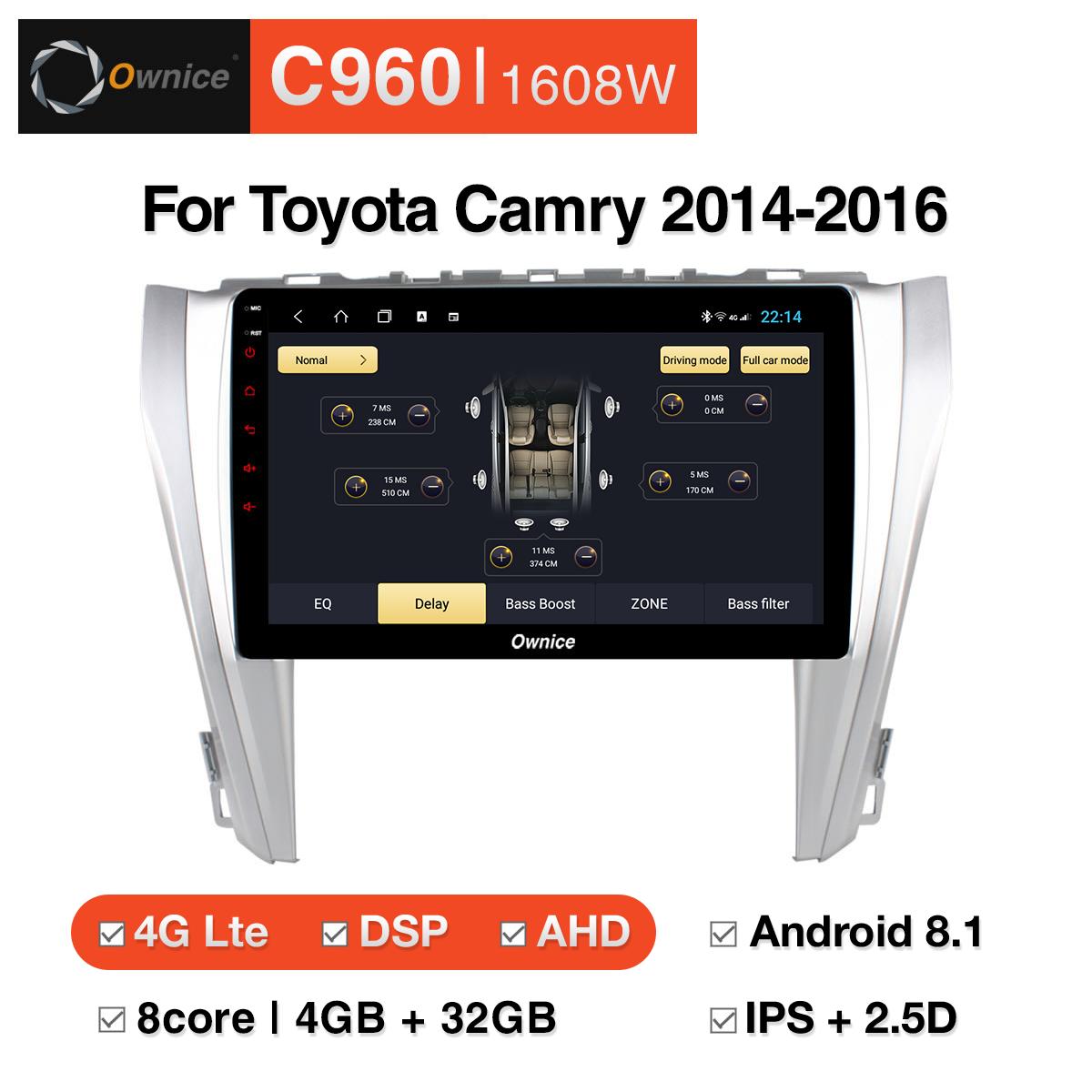 Đầu DVD android Ownice C960 cho xe ô tô Toyota Camry 2014 - 2016 :: OL-1608W