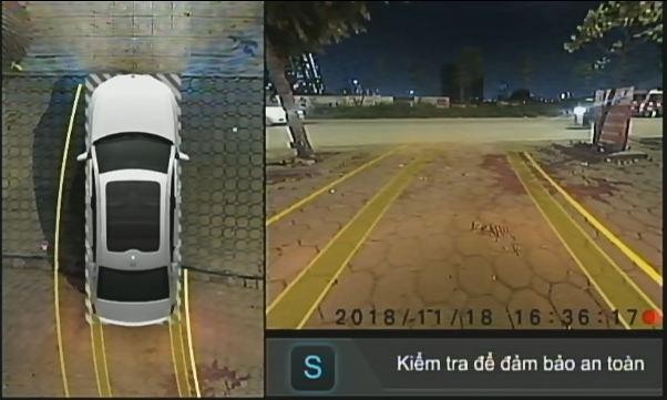 Hình ảnh Camera Elliview V3 trên màn hình khi xe lùi