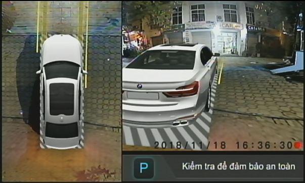 Hình ảnh Camera Elliview V3 trên màn hình khi xe rẽ phải
