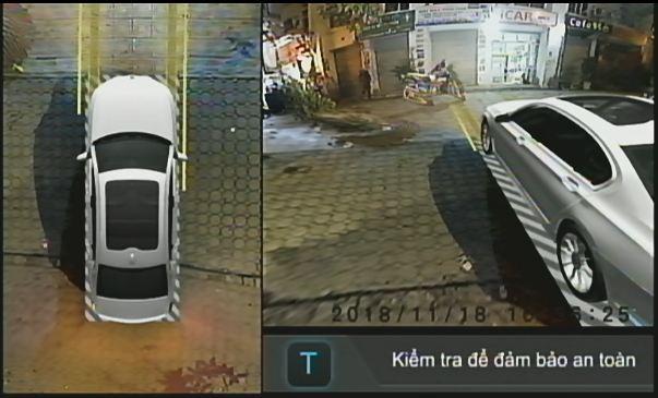 Hình ảnh Camera Elliview V3 trên màn hình khi xe rẽ trái