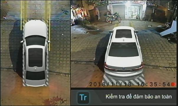 Hình ảnh Camera Elliview V3 trên màn hình khi xe tiến