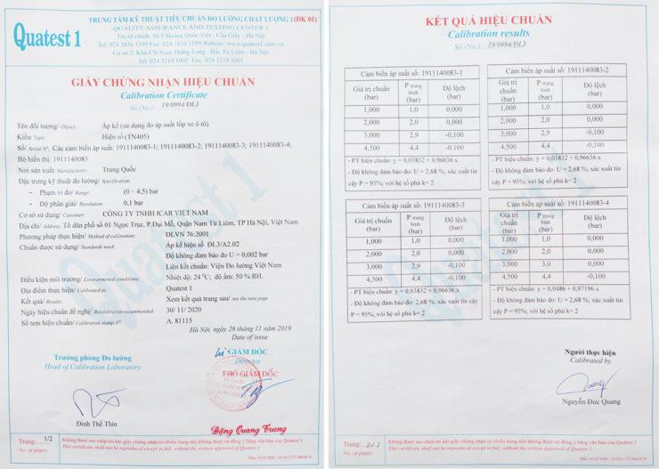 Chứng nhận kiểm chuẩn cảm biến áp suất lốp TN405
