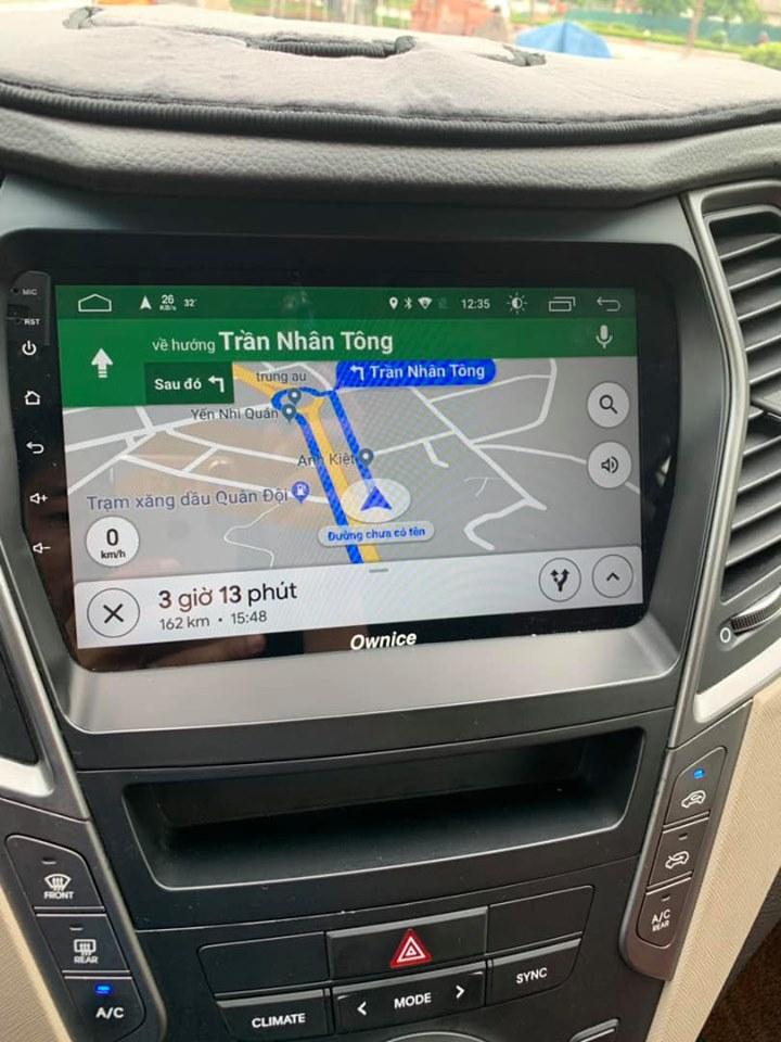 Hình ảnh lắp đặt đầu dvd android trên xe Hyundai Santafe