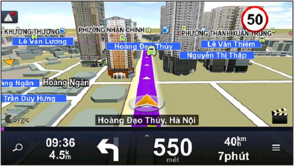 Hình ảnh hiển thị của Navitel trên màn hình dẫn đường ô tô