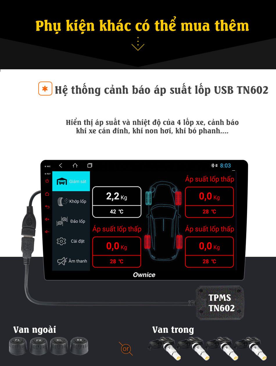 Đầu DVD android ô tô Ownice C900 hỗ trợ cảnh báo áp suất lốp