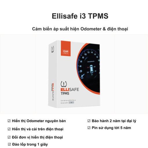 Cảm biến áp suất lốp hiện odometer và điện thoại Ellisafe i3