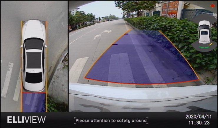 Hiển thị cảm biến hỗ trợ đỗ xe trên camera 360 ElliView V4