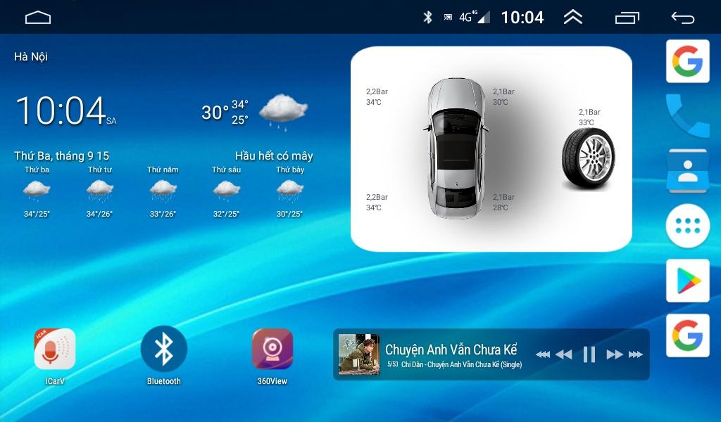 Widget hiển thị màn android khá đẹp của cảm biến áp suất lốp android ICAR 5 van