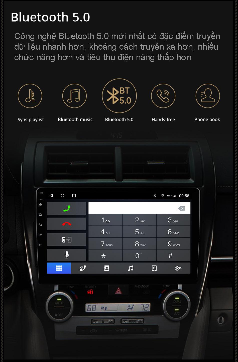 Bluetooth 5.0 trên đầu android ô tô