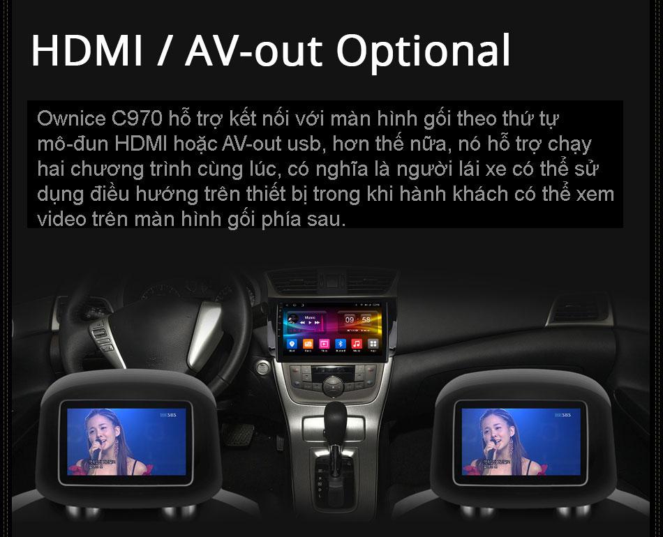 Đầu ra HDMI và AV out usb hỗ trợ hiển thị 2 màn hình khác nhau