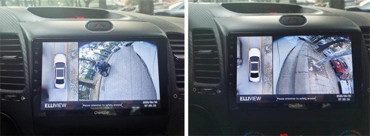 Camera 360 Elliview V4 lắp trên xe Kia K3 cùng đầu DVD Ownice C960
