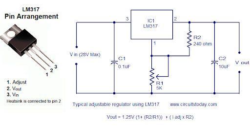 Mạch điều chỉnh điện áp 12V sang 5 V sử dụng chip LM317