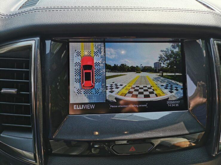 Camera 360 xe Ford Everest hiển thị đánh lái tiến