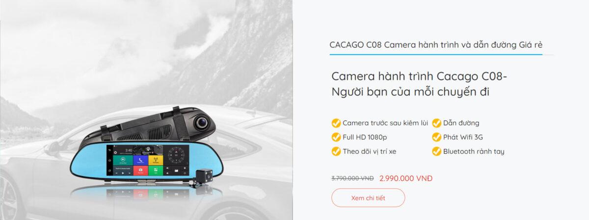 Camera hành trình và dẫn đường CACAGO C08