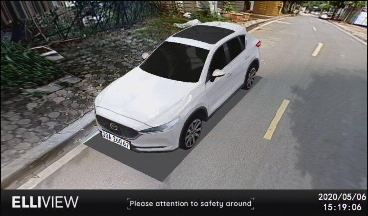Camera 360 độ ô tô hiển thị mô hình xe giống như thật