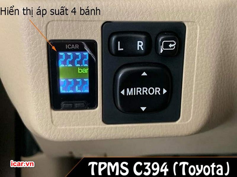 Màn hình hiển thị cảm biến áp suất lốp TPMS C394 gắn trên xe Toyota