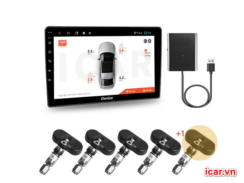 Cảm biến áp suất lốp Android 5 van – Ellisafe ADI5 kết nối USB