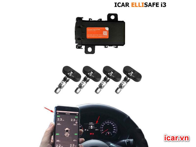 Cảm biến áp suất lốp theo xe ELLISAFE i3 (hiển thị ODO) quản lý bằng điện thoại