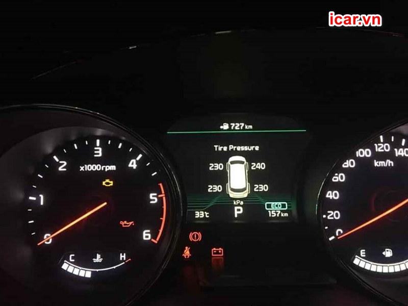 Giao diện hiển thị của hệ thống cảnh báo áp suất lốp