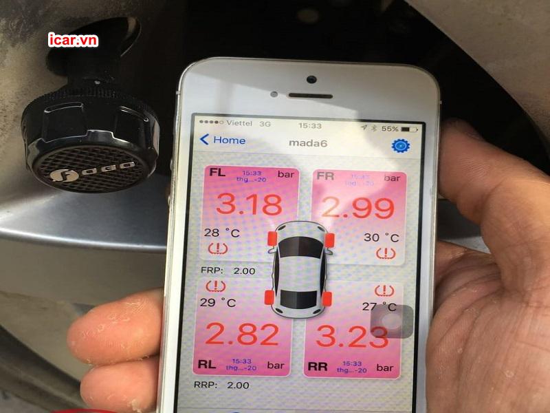 App dùng để theo dõi áp suất và nhiệt độ mặc định cho lốp phù hợp với điều kiện thời tiết