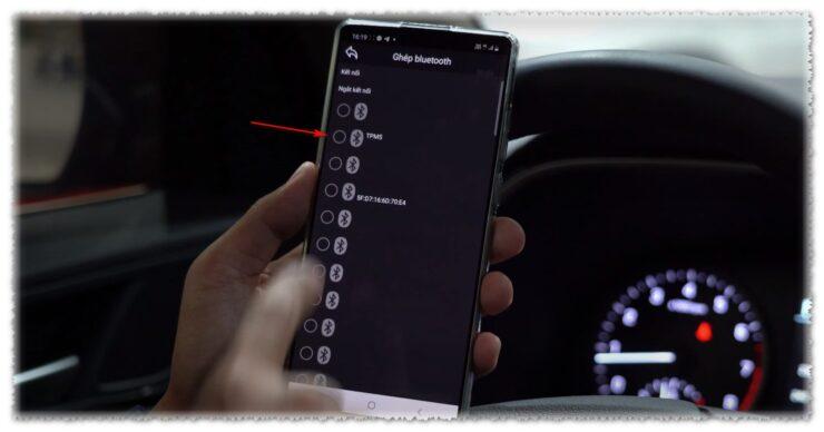 Chọn Bluetooth device TPMS khi cài app TPMS