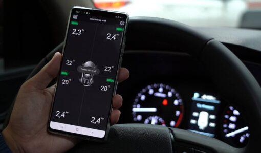 Màn hình điện thoại đã kết nối bluetooth TPMS