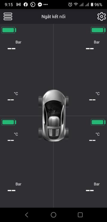 Màn hình giao diện cảm biến tpms i3 trên điện thoại
