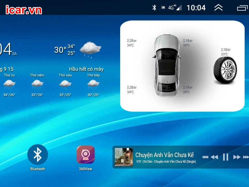 Widget cảm biến áp suất lốp Android 5 van đẹp mắt